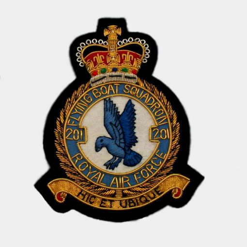201 Flying Boat Squadron Blazer badge handmade Crest using Gold bullion wires with silk embroidered on Black felt cloth