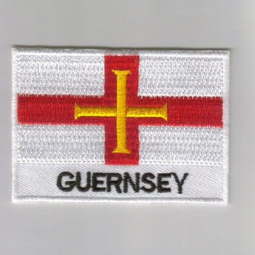 Guernsey embroidered patches - country flag Guernsey patches / iron on badges