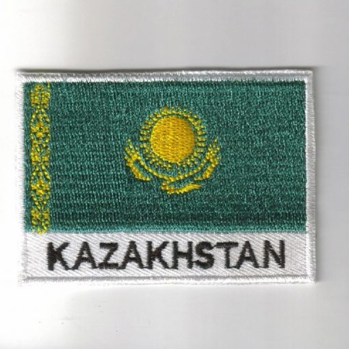 Kazakhstan embroidered patches - country flag Kazakhstan patches / iron on badges