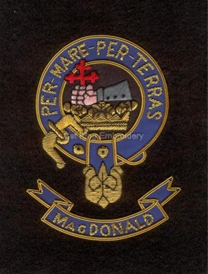 Magdonald clan crest badge - Per Mare per terras